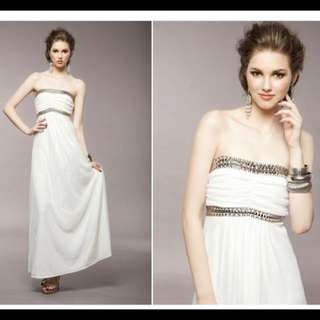 超美平口寶石禮服 長洋紗裙