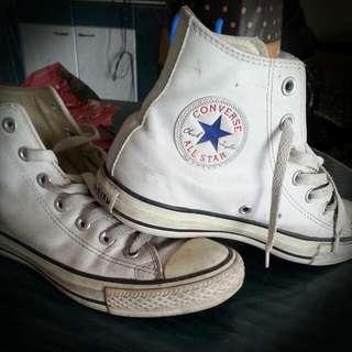 (含運)皮革converse高筒帆布鞋