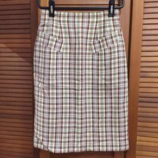 High Waist Vintage Checkered Skirt From Japan