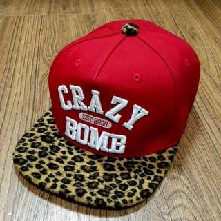 CrazyBomb 豹紋紅色刺繡Snapback/棒球帽