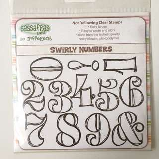 Sassfras Lass Swirly Numbers Stamp