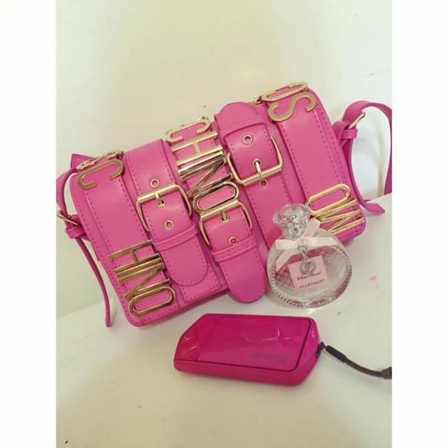 桃紅側背包