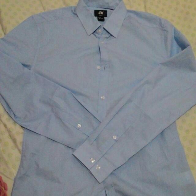 全新H&M水藍襯衫