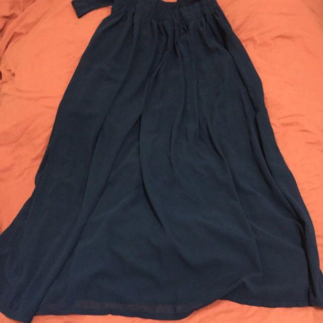 二手👗深藍吊帶雪紡長裙(L)👗