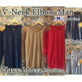 V Neck Elbow Sweater