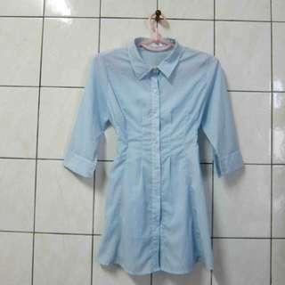 水藍顯瘦長版雪紡襯衫