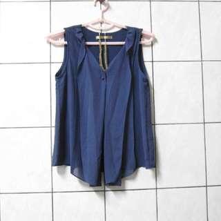 設計款灰藍質感雪紡上衣 (待匯保留)