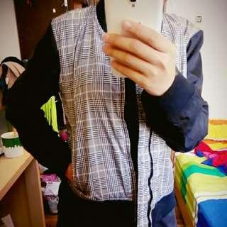 [時尚防風兼具] 艾莉著用款 F U S E 拼接 千鳥格 棒球 外套