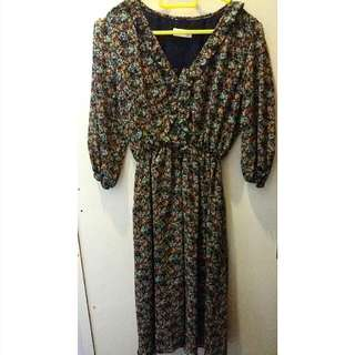 Vintage Flower-Print Dress