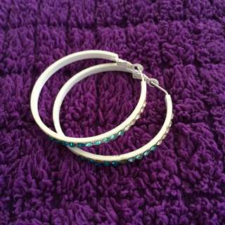 全新藍色漸層鑽石耳環