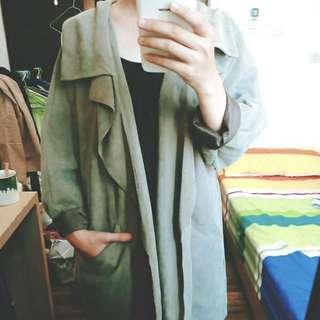 [都市女孩款] PAZZO 水蜜桃絲 翻領 風衣 外套