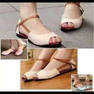 In Stock Open-toe Flats (Beige) Size 37❤️