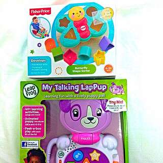 **SELLING BRAND NEW LeapFrog My Talking LapPup & Fisher-Price Butterfly Shape Sorter**
