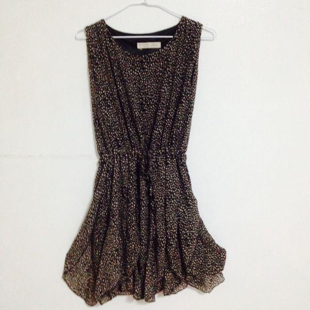 深色豹紋雪紡小洋裝