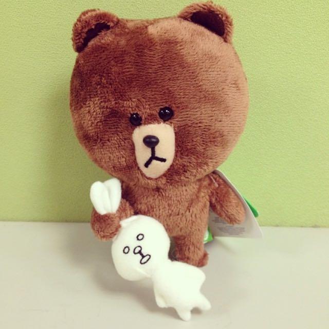 LINE 熊大抓兔兔玩偶🐻