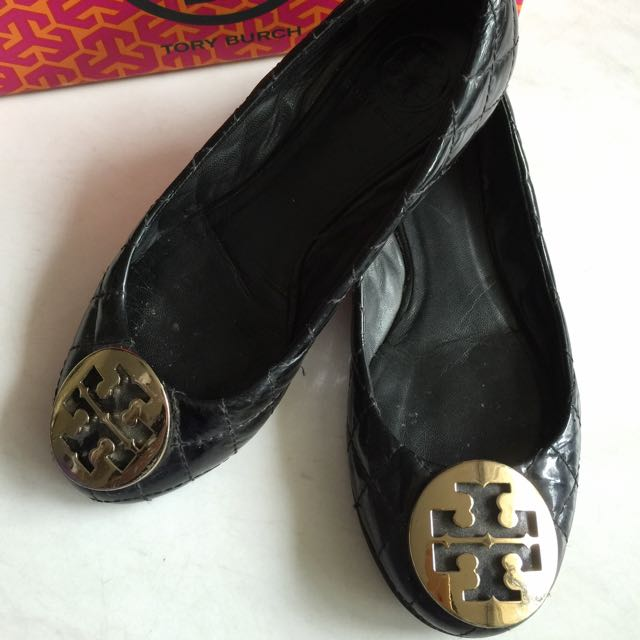 539739cde3c4 Tory Burch Reva Ballet Flats Black Patent Quilted Like Chanel - 6.5 ...
