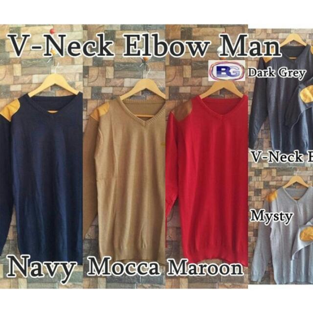 V Neck Elbow Sweater