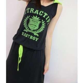連身裙(黑色+螢光綠)