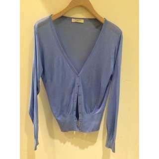 待面交 )小資女針織小外套 水藍色