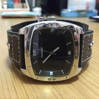 FOSSIL寬版皮質錶帶手錶