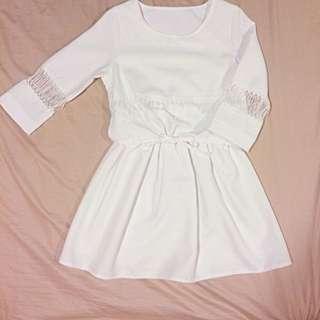 春夏縮腰純白洋裝 七分袖 半透視 傘狀裙