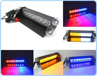 8 LED Strobe Light BLUE RED Flash Emergency Lamp All Car