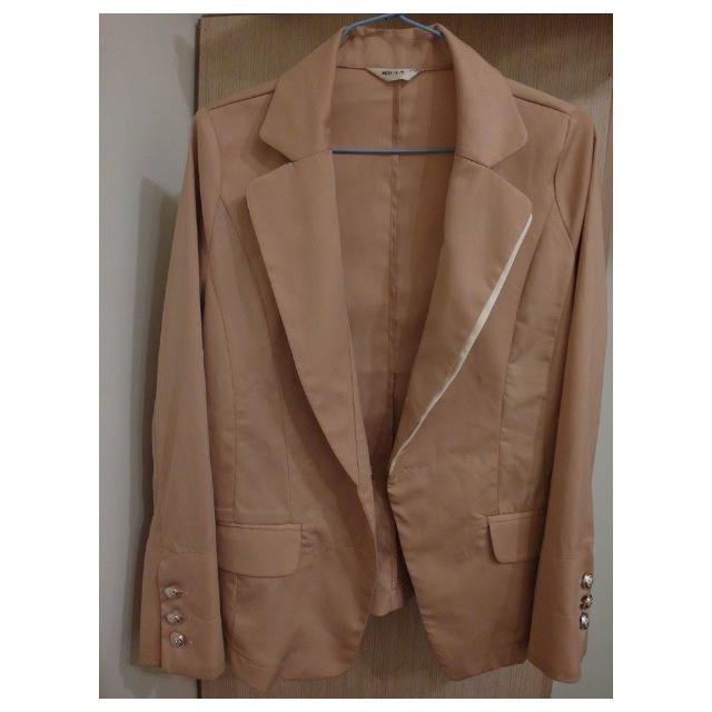 袖反折 雙色 西裝外套  (粉膚)