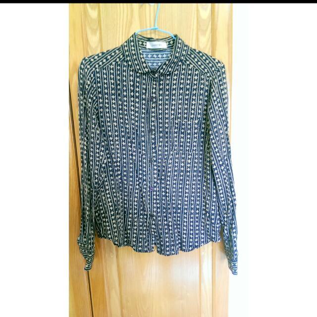 復古菱格雪紡材質襯衫