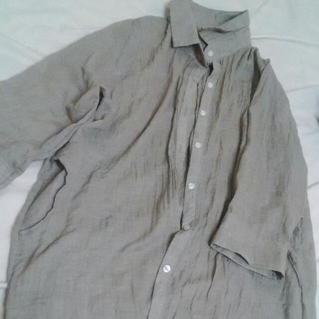 淺墨綠長版襯衫
