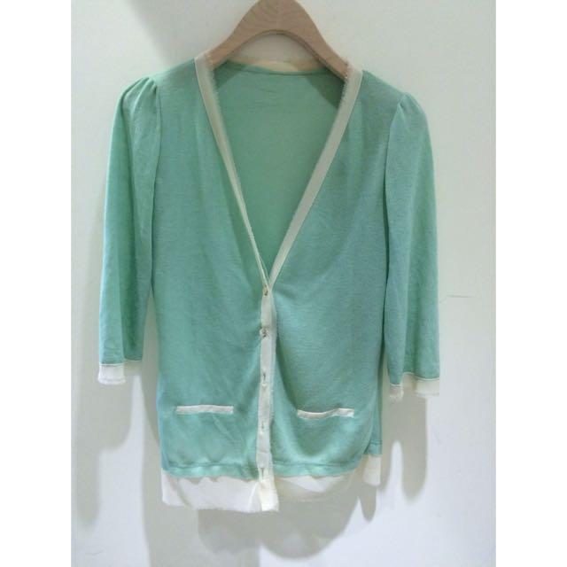 雪紡針織小外套 冰綠色