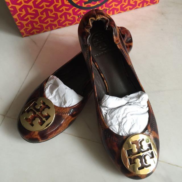9144bed90075 Tory Burch BNIB Reva Leather Ballet Flats - Size 6 Tortoise Shell ...