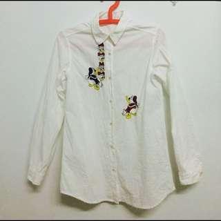 古著唐老鴨疊疊樂刺繡白襯衫