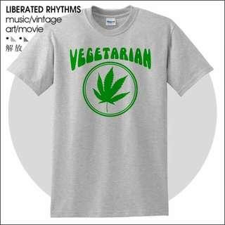 大麻 Vegetarian 素食者 短袖T恤 Weed