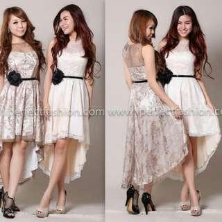 Elegant asymmetry lace dress