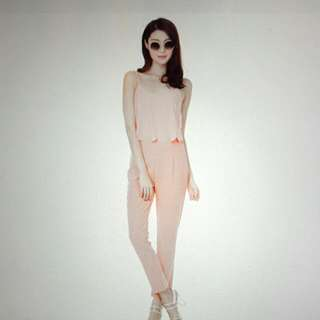 Premium TCL Scallop Frosting Jumpsuit In Peach PINK