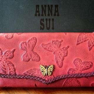 ANNA SUI 皮夾。長夾 真皮 紫 紅 二手