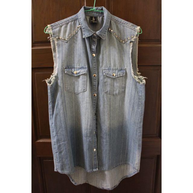 Shopaholics 卯釘 質感好牛仔襯衫