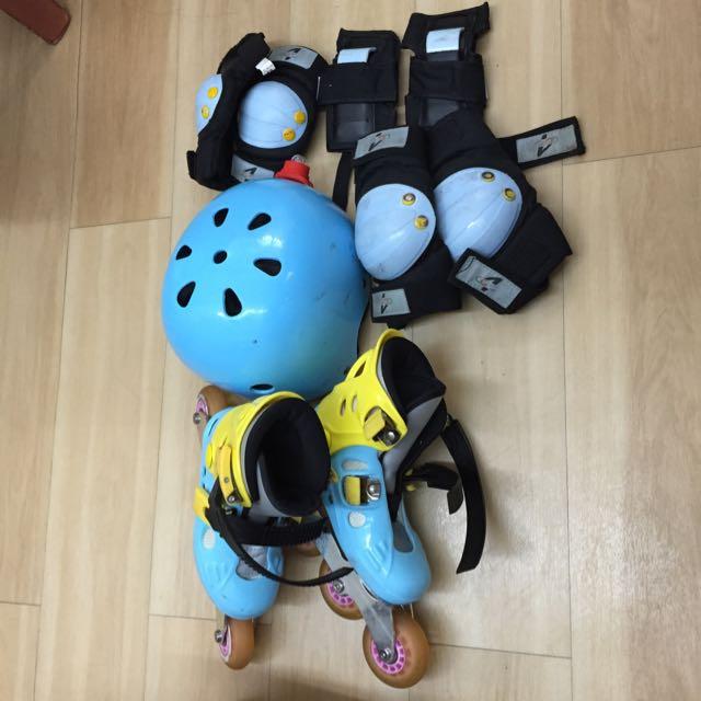 九成新 全套 直排輪 溜冰鞋 3歲4歲適用 安全帽 護膝 護手