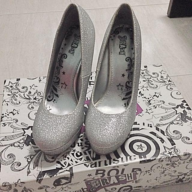 2771bc6c726 Brash Silver Wedge High Heels