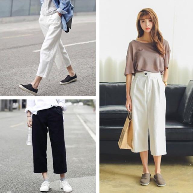 ac9d942198f Korean summer black and white solid color wide leg pants Port wind ...