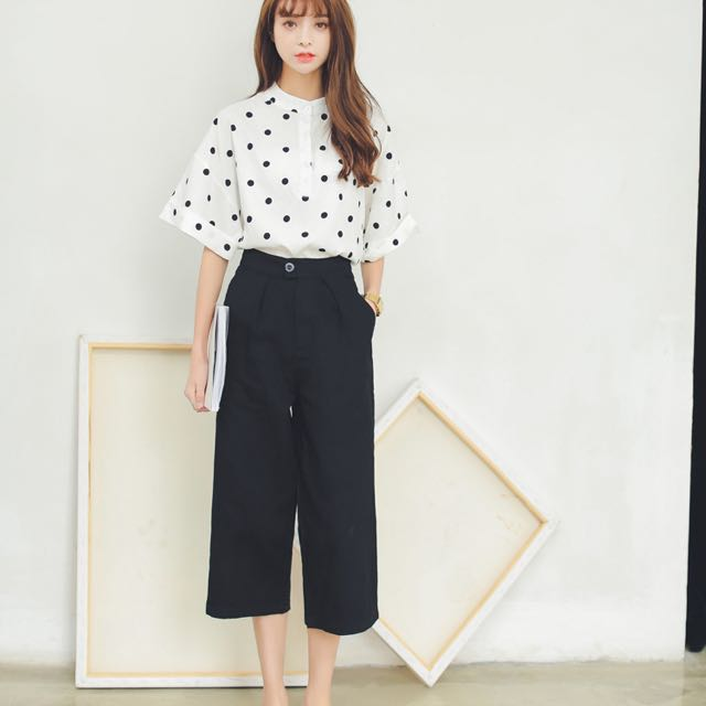 0988d4593d7 Korean summer black and white solid color wide leg pants Port wind loose  big yards in nine straight casual pants thin jeans influx of women