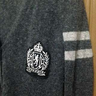 學院風 長版 毛針織 灰 外套