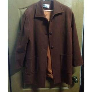 焦糖咖啡 長版 古著 大衣 外套
