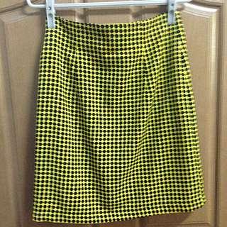 幾何 黑黃 窄 短裙