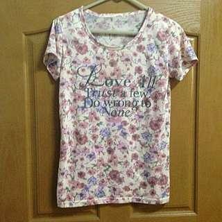 碎花 粉色 英文字 韓版 棉 T-shirt