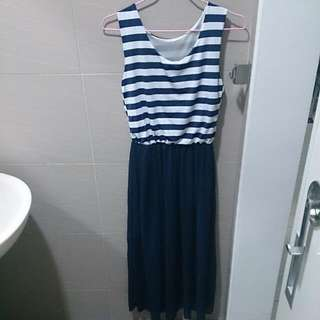 二手*條紋雪紡連身長裙(藍)