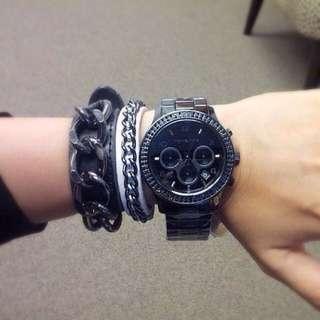 Michael Kors MK5360 黑色陶瓷晶鑽三眼手錶 全新