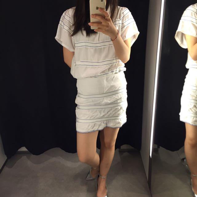 清倉📣summer白套裝拼接藍條紋上衣+裙