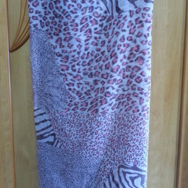全新米粉混色豹紋大披巾