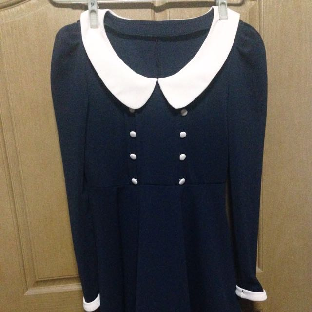 深藍 洋裝